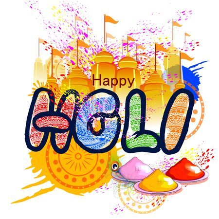 dharma: Colorful Happy Hoil background for festival of colors in India Illustration