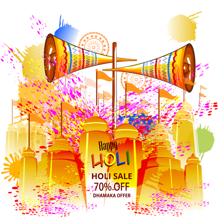 easy to edit vector illustration of colorful Happy Hoil Sale and Promotion Advertisment background for festival of colors in India