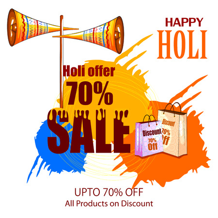 Happy Hoil Sale and Promotion Advertisment background for festival of colors in India