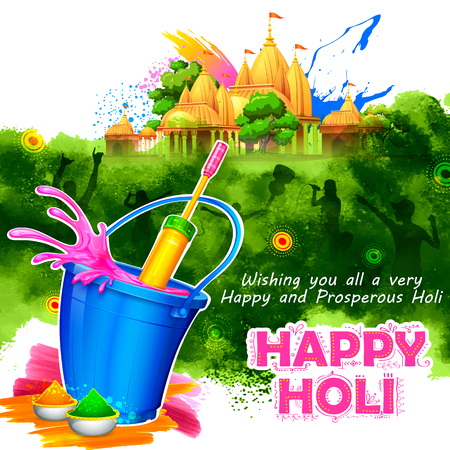 festive background: illustration of colorful Happy Holi Background for Festival of Colors celebration greetings Illustration