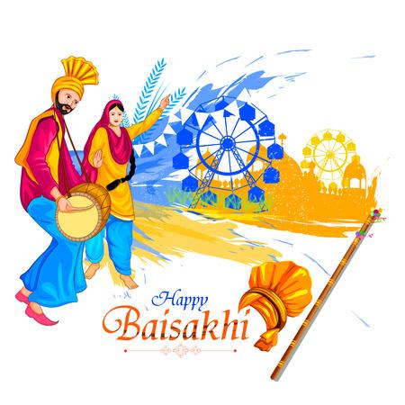 Celebration of Punjabi festival Baisakhi background.