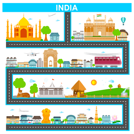 holiday background: easy to edit vector illustration of cityscape with famous monument and building of India Illustration