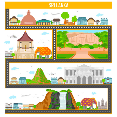 colombo: Easy to edit vector illustration of cityscape with famous monument and building of Sri Lanka Illustration