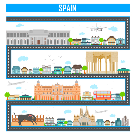 building: Easy to edit vector illustration of cityscape with famous monument and building of Spain Illustration