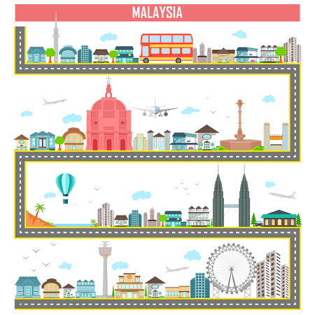 easy to edit vector illustration of cityscape with famous monument and building of Malaysia