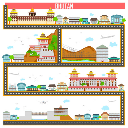 city building: easy to edit vector illustration of cityscape with famous monument and building of Bhutan