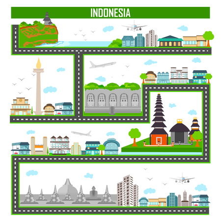 city: easy to edit vector illustration of cityscape with famous monument and building of Indonesia