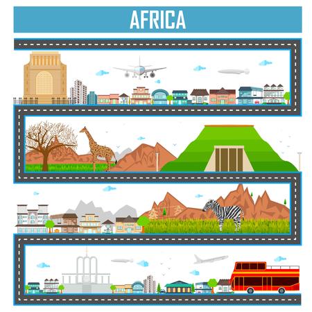 Fácil de editar ilustración vectorial de paisaje urbano con monumento famoso y la construcción de África