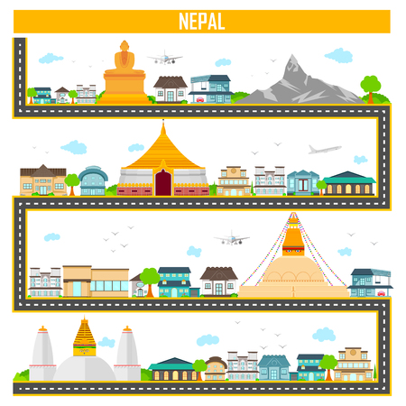 easy to edit vector illustration of cityscape with famous monument and building of Nepal
