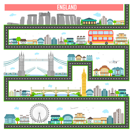 london tower bridge: easy to edit vector illustration of cityscape with famous monument and building of England Illustration