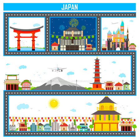 traditional: Easy to edit vector illustration of cityscape with famous monument and building of Japan Illustration