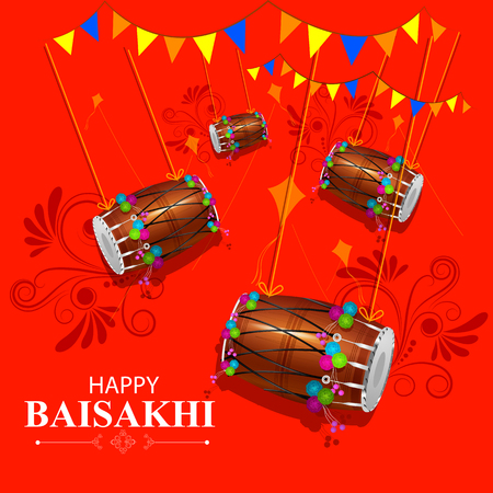 india culture: Easy to edit vector illustration of celebration of Punjabi festival Baisakhi pattern Illustration