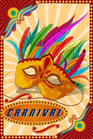 holiday background: easy to edit vector illustration of Vintage retro Carnival Party banner poster design Illustration