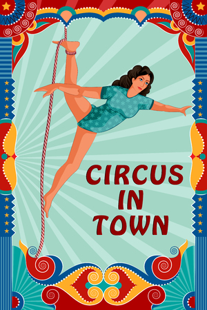 festive: easy to edit vector illustration of Vintage retro Circus Party banner poster design Illustration