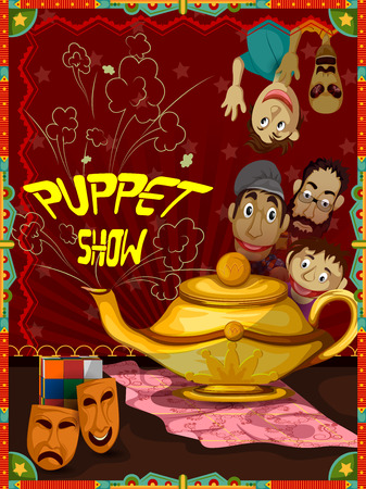 easy to edit vector illustration of Vintage retro Puppet Show banner poster design