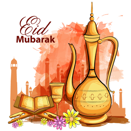easy to edit vector illustration of Eid Mubarak Happy Eid background