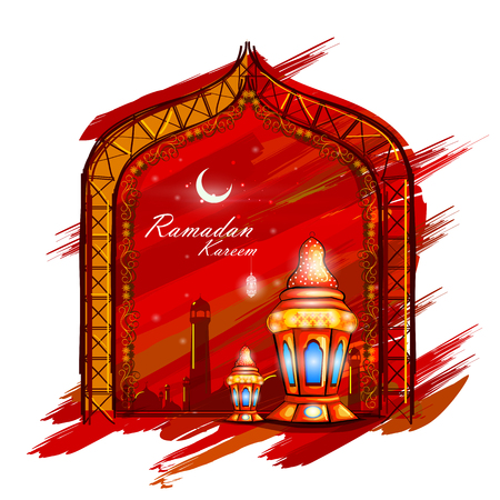 ramzan: easy to edit vector illustration of Islamic celebration background with text Ramadan Kareem