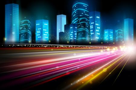 City nightlife street with skyscraper cityscape Illustration