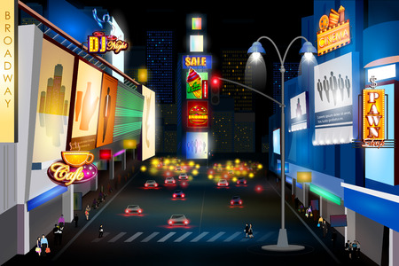 new york city times square: City nightlife of BROADWAY, NEW YORK CITY Illustration
