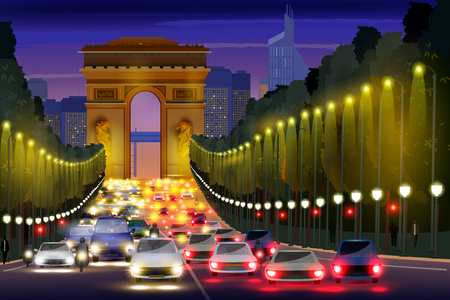 city building: City nightlife of Champs Elysees Street Paris, France