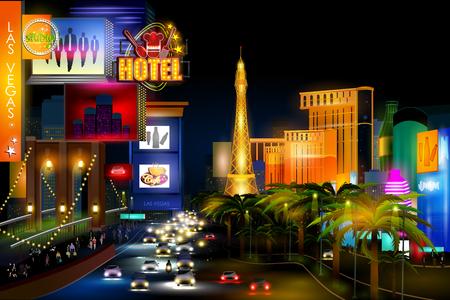 City nightlife of busy street