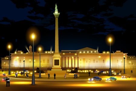City nightlife of Trafalgar Square Westminster, Central London Illustration