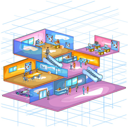style: Flat style 3D Isometric view of Infrastructure layout of office workspace