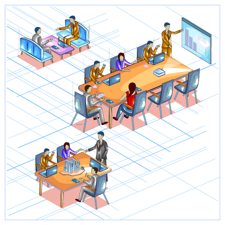 business team: Flat style 3D Isometric view of Business meeting and conference.