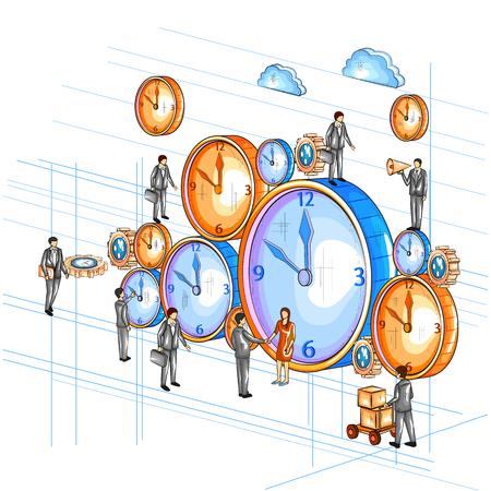 Vista isométrica 3D de estilo plano del proceso de gestión de tiempo