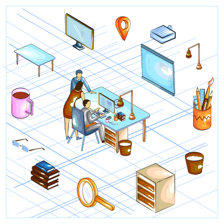 Flat style 3D Isometric view of Business Strategy Discussion