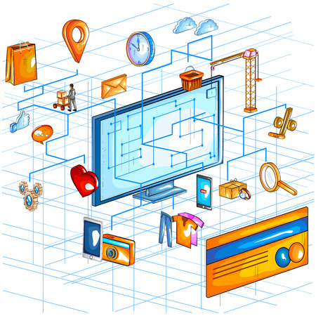 screen: Flat style 3D Isometric view of e commerce online shopping application interface.