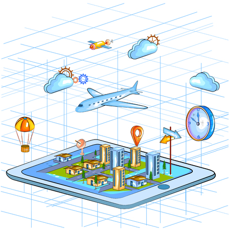 global positioning system: Flat style 3D Isometric view of Global Positioning System GPS for location interface Stock Photo