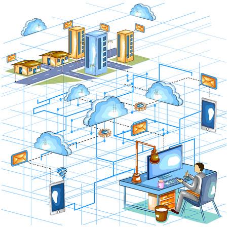 wireless communication: Flat style 3D Isometric view of Cloud Computing Network