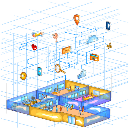 Flat style 3D Isometric view of Cloud Computing Network