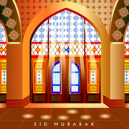 Islamic design mosque door and window for Eid Mubarak Happy Eid celebration background