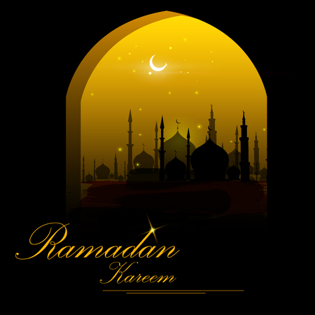 Islamic design mosque door and window for Ramadan Kareem Happy Eid celebration background