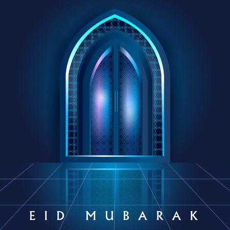 Islamic design mosque door and window for Eid Mubarak Happy Eid celebration background