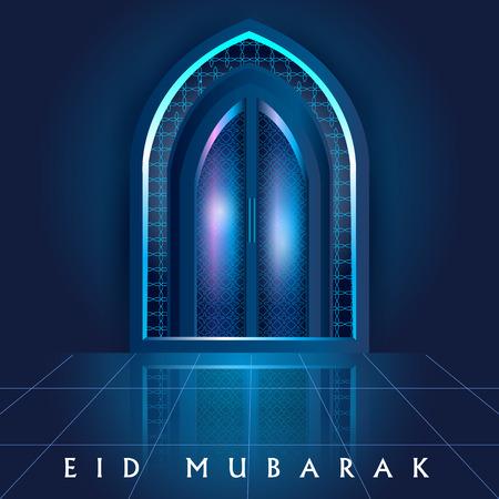 Mezquita islámica puerta de la iglesia y la ventana de eid mubarak 2017 fondo de celebración Foto de archivo - 80260823