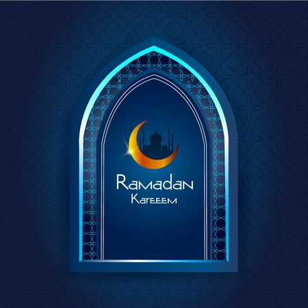 celebration background: Islamic design mosque door and window for Ramadan Kareem Happy Eid celebration background
