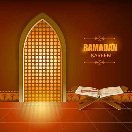 Islamic design mosque door and window for Ramadan Kareem Happy Eid celebration background