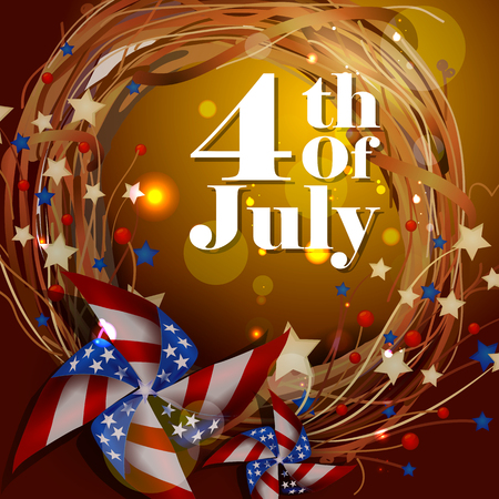 festive: 4th July, Independence day of America Illustration