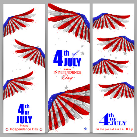 flag: 4th July, Independence day of America Illustration