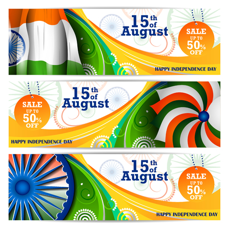 Indian Flag on Happy Independence Day of India Sale and Promotion background Stock Vector - 80961102