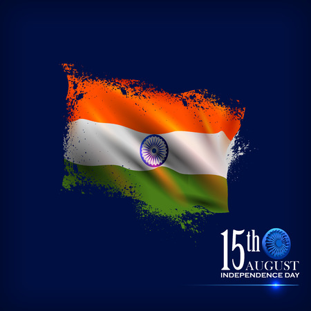 Indian Flag on Happy Independence Day of India background