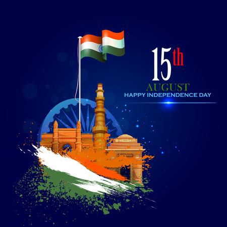 Monument en oriëntatiepunt van India op de Indiase Independence Day viering achtergrond Stock Illustratie