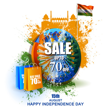 Indian Flag on Happy Independence Day of India Sale and Promotion background