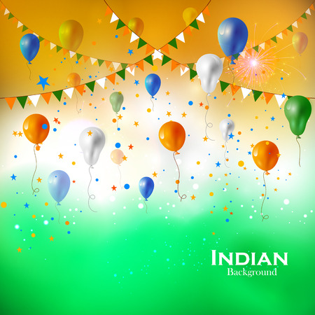holiday background: Tricolor balloon flying on Indian Background