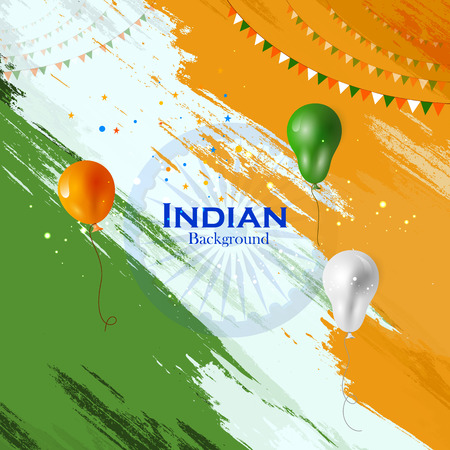 Tricolor balloon flying on Indian Background