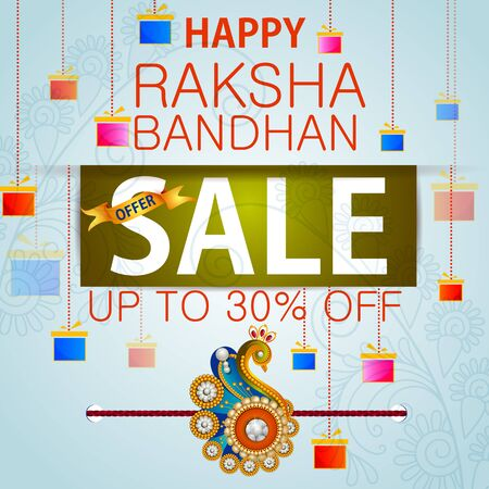 festive occasions: Rakhi Shopping Sale background for Indian festival Raksha bandhan celebration Illustration