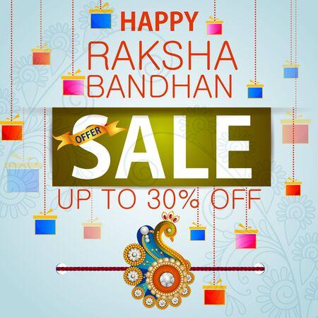 man: Rakhi Shopping Sale background for Indian festival Raksha bandhan celebration Illustration